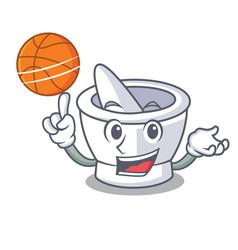 With basketball mortar character cartoon style vector