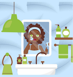 Woman cleaning face in bathroom vector