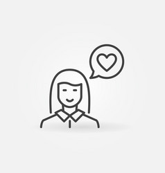 woman with heart in speech bubble line vector image