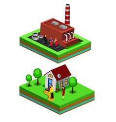 worker controls processes in production and house vector image