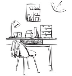 workplace drawn by hand doodle style vector image