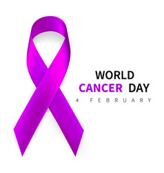 World cancer day symbol 4 february ribbon symbol vector
