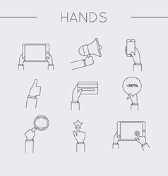 Flat design of hand line icons set Concept of hand vector image