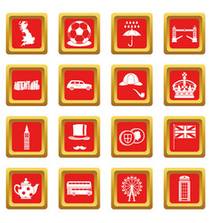 great britain icons set red vector image