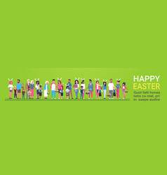 Happy easter greeting card banner with group of vector