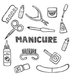 manicure and pedicure doodle set isolated on a vector image