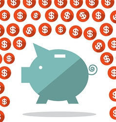 Money Pig and Dollar Rain vector image