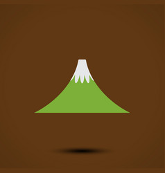 mountain icon on brown background vector image vector image