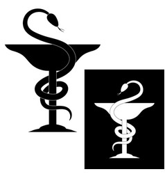 pharmacy symbol medical snake and cup vector image vector image