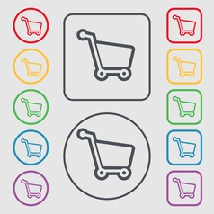 Shopping cart icon sign symbol on the Round and vector image vector image