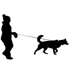 silhouette of people and dog vector image vector image