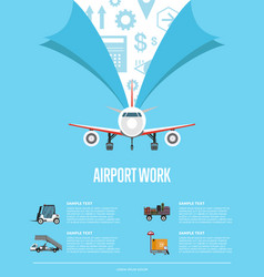 airport work poster for commercial airline vector image vector image