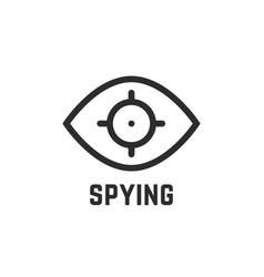 black spying eye linear logo vector image