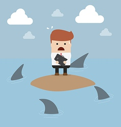 Businessman stranded in an island vector image vector image