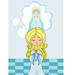 Cute little girl Praying to Blessed Virgin Mary vector image vector image