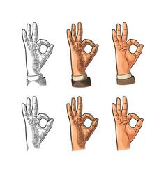 hand showing symbol okay color vintage vector image vector image