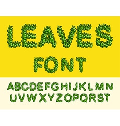 Leaves Font Green Eco alphabet vector image vector image