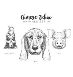 set of hand drawn chinese zodiac animal vector image vector image