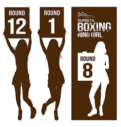 Silhouette boxing ring girl holding sign vector image vector image