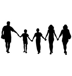 silhouettes of happy family walking vector image vector image