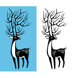 black and white deer vector image
