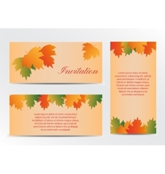 Invitation card with autumn colorful leaves vector image vector image