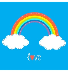 Rainbow and two clouds in the sky Dash line Love vector image vector image