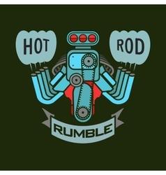 Engine hot rod muscle car speedster logo t-shirt vector