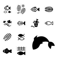 fish icon isolated vector image vector image