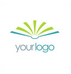 open book education logo vector image vector image