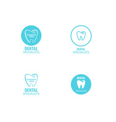 set of dental clinic logo tooth icon vector image vector image