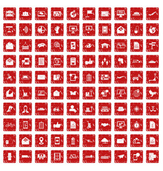 100 post and mail icons set grunge red vector