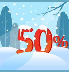 a discount fifty percent figures in the snow vector image