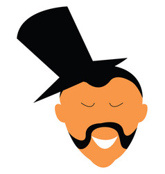 a man in top hat and albert style mustache or vector image