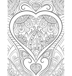 Adult coloring bookpage a valentines day theme vector