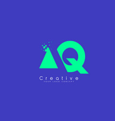 Aq letter logo design with negative space concept vector