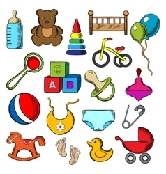 Baby and childish toys icons vector