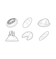 bakery icon set outline style vector image