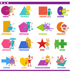 Basic geometric shapes with comic fantasy vector