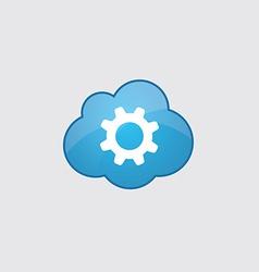 Blue cloud settings icon vector image