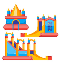 Bouncy castles for kids colorful set isolated on vector