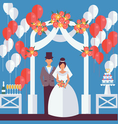 bride and groom flat style wedding figures vector image