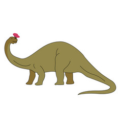 brontosaurus with butterfly on white background vector image