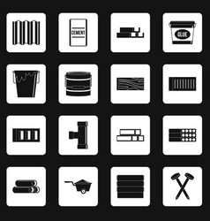 Building materials icons set squares vector