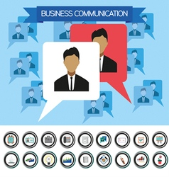 Business communication infographic with icons pers vector