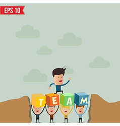 Business man jump over hill - - eps10 vector