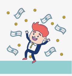 businessman character money vector image