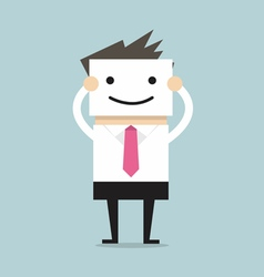 Businessman hide his real face by holding smile ma vector