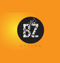 Bz b z logo made of small letters with black vector
