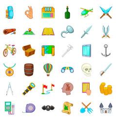 castle icons set cartoon style vector image